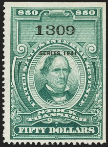 "Sale Number 1149, Lot Number 333, Green Stock Transfer: 1940-1942 Ovpts.$50.00 Bright Green, ""Series 1941"" Ovpt., Stock Transfer (RD112), $50.00 Bright Green, ""Series 1941"" Ovpt., Stock Transfer (RD112)"