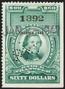 "Sale Number 1149, Lot Number 334, Green Stock Transfer: 1940-1942 Ovpts.$60.00 Bright Green, ""Series 1941"" Ovpt., Stock Transfer (RD113), $60.00 Bright Green, ""Series 1941"" Ovpt., Stock Transfer (RD113)"