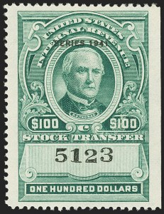 "Sale Number 1149, Lot Number 335, Green Stock Transfer: 1940-1942 Ovpts.$100.00 Bright Green, ""Series 1941"" Ovpt., Stock Transfer (RD114), $100.00 Bright Green, ""Series 1941"" Ovpt., Stock Transfer (RD114)"