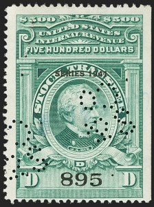 "Sale Number 1149, Lot Number 336, Green Stock Transfer: 1940-1942 Ovpts.$500.00 Bright Green, ""Series 1941"" Ovpt., Stock Transfer (RD115), $500.00 Bright Green, ""Series 1941"" Ovpt., Stock Transfer (RD115)"