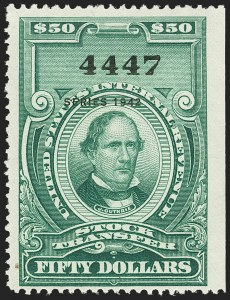 "Sale Number 1149, Lot Number 339, Green Stock Transfer: 1940-1942 Ovpts.$50.00 Bright Green, ""Series 1942"" Ovpt., Stock Transfer (RD135), $50.00 Bright Green, ""Series 1942"" Ovpt., Stock Transfer (RD135)"