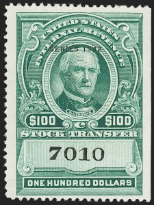 "Sale Number 1149, Lot Number 340, Green Stock Transfer: 1940-1942 Ovpts.$100.00 Bright Green, ""Series 1942"" Ovpt., Stock Transfer (RD137), $100.00 Bright Green, ""Series 1942"" Ovpt., Stock Transfer (RD137)"