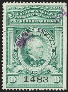 "Sale Number 1149, Lot Number 341, Green Stock Transfer: 1940-1942 Ovpts.$500.00 Bright Green, ""Series 1942"" Ovpt., Stock Transfer (RD138), $500.00 Bright Green, ""Series 1942"" Ovpt., Stock Transfer (RD138)"