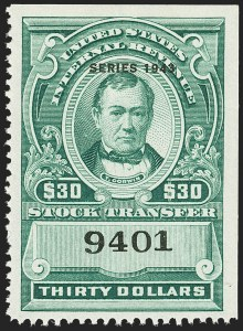 "Sale Number 1149, Lot Number 343, Green Stock Transfer: 1943-1944 Ovpts.$30.00 Bright Green, ""Series 1943"" Ovpt., Stock Transfer (RD157), $30.00 Bright Green, ""Series 1943"" Ovpt., Stock Transfer (RD157)"