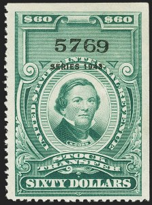 "Sale Number 1149, Lot Number 345, Green Stock Transfer: 1943-1944 Ovpts.$60.00 Bright Green, ""Series 1943"" Ovpt., Stock Transfer (RD159), $60.00 Bright Green, ""Series 1943"" Ovpt., Stock Transfer (RD159)"