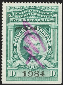 "Sale Number 1149, Lot Number 346, Green Stock Transfer: 1943-1944 Ovpts.$500.00 Bright Green, ""Series 1943"" Ovpt., Stock Transfer (RD161), $500.00 Bright Green, ""Series 1943"" Ovpt., Stock Transfer (RD161)"