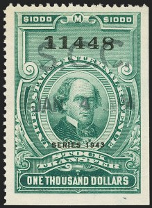 "Sale Number 1149, Lot Number 347, Green Stock Transfer: 1943-1944 Ovpts.$1,000.00 Bright Green, ""Series 1943"" Ovpt., Stock Transfer (RD162), $1,000.00 Bright Green, ""Series 1943"" Ovpt., Stock Transfer (RD162)"