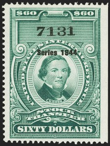 "Sale Number 1149, Lot Number 349, Green Stock Transfer: 1943-1944 Ovpts.$60.00 Bright Green, ""Series 1944"" Ovpt., Stock Transfer (RD182), $60.00 Bright Green, ""Series 1944"" Ovpt., Stock Transfer (RD182)"