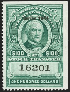 "Sale Number 1149, Lot Number 350, Green Stock Transfer: 1943-1944 Ovpts.$100.00 Bright Green, ""Series 1944"" Ovpt., Stock Transfer (RD183), $100.00 Bright Green, ""Series 1944"" Ovpt., Stock Transfer (RD183)"