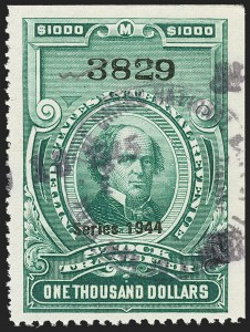 "Sale Number 1149, Lot Number 352, Green Stock Transfer: 1943-1944 Ovpts.$1,000.00 Bright Green, ""Series 1944"" Ovpt., Stock Transfer (RD185), $1,000.00 Bright Green, ""Series 1944"" Ovpt., Stock Transfer (RD185)"