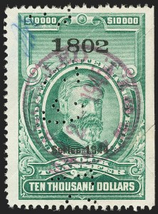 "Sale Number 1149, Lot Number 354, Green Stock Transfer: 1943-1944 Ovpts.$10,000.00 Bright Green, ""Series 1944"" Ovpt., Stock Transfer (RD185C), $10,000.00 Bright Green, ""Series 1944"" Ovpt., Stock Transfer (RD185C)"