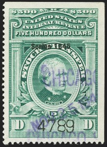 "Sale Number 1149, Lot Number 357, Green Stock Transfer: 1945-1947 Ovpts.$500.00 Bright Green, ""Series 1945"" Ovpt., Stock Transfer (RD207), $500.00 Bright Green, ""Series 1945"" Ovpt., Stock Transfer (RD207)"