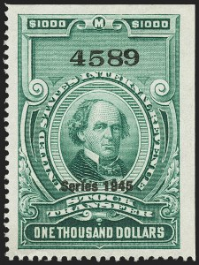 "Sale Number 1149, Lot Number 358, Green Stock Transfer: 1945-1947 Ovpts.$1,000.00 Bright Green, ""Series 1945"" Ovpt., Stock Transfer (RD208), $1,000.00 Bright Green, ""Series 1945"" Ovpt., Stock Transfer (RD208)"