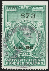 "Sale Number 1149, Lot Number 359, Green Stock Transfer: 1945-1947 Ovpts.$2,500.00 Bright Green, ""Series 1945"" Ovpt., Stock Transfer (RD208A), $2,500.00 Bright Green, ""Series 1945"" Ovpt., Stock Transfer (RD208A)"