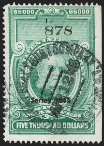 "Sale Number 1149, Lot Number 360, Green Stock Transfer: 1945-1947 Ovpts.$5,000.00 Bright Green, ""Series 1945"" Ovpt., Stock Transfer (RD208B), $5,000.00 Bright Green, ""Series 1945"" Ovpt., Stock Transfer (RD208B)"