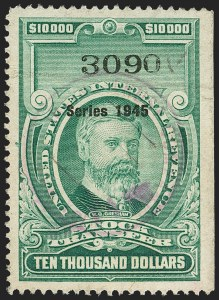 "Sale Number 1149, Lot Number 361, Green Stock Transfer: 1945-1947 Ovpts.$10,000.00 Bright Green, ""Series 1945"" Ovpt., Stock Transfer (RD208C), $10,000.00 Bright Green, ""Series 1945"" Ovpt., Stock Transfer (RD208C)"
