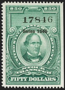 "Sale Number 1149, Lot Number 363, Green Stock Transfer: 1945-1947 Ovpts.$50.00 Bright Green, ""Series 1946"" Ovpt., Stock Transfer (RD227), $50.00 Bright Green, ""Series 1946"" Ovpt., Stock Transfer (RD227)"