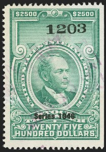 "Sale Number 1149, Lot Number 365, Green Stock Transfer: 1945-1947 Ovpts.$2,500.00 Bright Green, ""Series 1946"" Ovpt., Stock Transfer (RD232), $2,500.00 Bright Green, ""Series 1946"" Ovpt., Stock Transfer (RD232)"