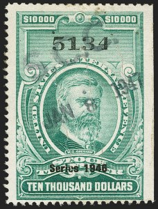"Sale Number 1149, Lot Number 367, Green Stock Transfer: 1945-1947 Ovpts.$10,000.00 Bright Green, ""Series 1946"" Ovpt., Stock Transfer (RD234), $10,000.00 Bright Green, ""Series 1946"" Ovpt., Stock Transfer (RD234)"