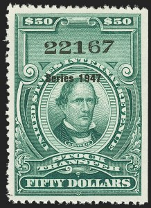 "Sale Number 1149, Lot Number 369, Green Stock Transfer: 1945-1947 Ovpts.$50.00 Bright Green, ""Series 1947"" Ovpt., Stock Transfer (RD253), $50.00 Bright Green, ""Series 1947"" Ovpt., Stock Transfer (RD253)"