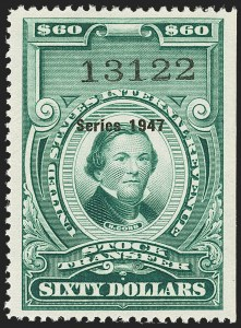 "Sale Number 1149, Lot Number 370, Green Stock Transfer: 1945-1947 Ovpts.$60.00 Bright Green, ""Series 1947"" Ovpt., Stock Transfer (RD254), $60.00 Bright Green, ""Series 1947"" Ovpt., Stock Transfer (RD254)"
