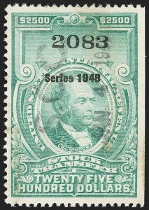 "Sale Number 1149, Lot Number 373, Green Stock Transfer: 1948-1952 Ovpts.$2,500.00 Bright Green, ""Series 1948"" Ovpt., Stock Transfer (RD284), $2,500.00 Bright Green, ""Series 1948"" Ovpt., Stock Transfer (RD284)"