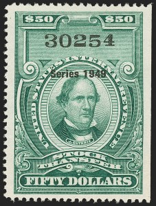 "Sale Number 1149, Lot Number 375, Green Stock Transfer: 1948-1952 Ovpts.$50.00 Bright Green, ""Series 1949"" Ovpt., Stock Transfer (RD305), $50.00 Bright Green, ""Series 1949"" Ovpt., Stock Transfer (RD305)"