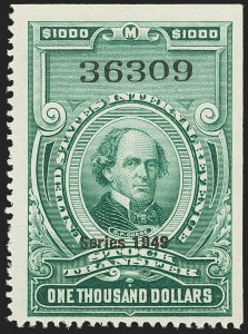 "Sale Number 1149, Lot Number 377, Green Stock Transfer: 1948-1952 Ovpts.$1,000.00 Bright Green, ""Series 1949"" Ovpt., Stock Transfer (RD309), $1,000.00 Bright Green, ""Series 1949"" Ovpt., Stock Transfer (RD309)"
