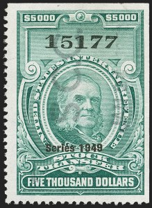 "Sale Number 1149, Lot Number 379, Green Stock Transfer: 1948-1952 Ovpts.$5,000.00 Bright Green, ""Series 1949"" Ovpt., Stock Transfer (RD311), $5,000.00 Bright Green, ""Series 1949"" Ovpt., Stock Transfer (RD311)"