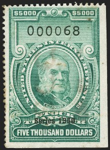 "Sale Number 1149, Lot Number 383, Green Stock Transfer: 1948-1952 Ovpts.$5,000.00 Bright Green, ""Series 1950"" Ovpt., Stock Transfer (RD337), $5,000.00 Bright Green, ""Series 1950"" Ovpt., Stock Transfer (RD337)"