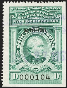 "Sale Number 1149, Lot Number 386, Green Stock Transfer: 1948-1952 Ovpts.$500.00 Bright Green, ""Series 1951"" Ovpt., Stock Transfer (RD360), $500.00 Bright Green, ""Series 1951"" Ovpt., Stock Transfer (RD360)"