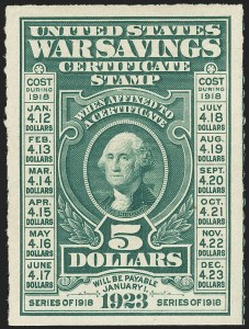 Sale Number 1149, Lot Number 420, War Savings$5.00 Deep Green, War Savings, Rouletted 7 (WS3). Mint N.H, $5.00 Deep Green, War Savings, Rouletted 7 (WS3). Mint N.H