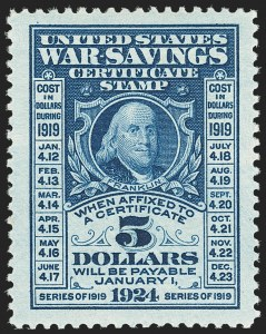 Sale Number 1149, Lot Number 421, War Savings$5.00 Deep Blue, War Savings (WS4), $5.00 Deep Blue, War Savings (WS4)