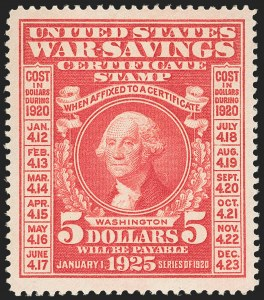 Sale Number 1149, Lot Number 422, War Savings$5.00 Carmine, War Savings (WS5), $5.00 Carmine, War Savings (WS5)