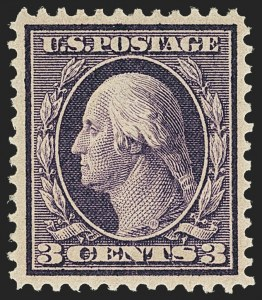 Sale Number 1150, Lot Number 1007, 1909 Bluish Paper Issue (Scott 357-366)3c Deep Violet, Bluish (359), 3c Deep Violet, Bluish (359)