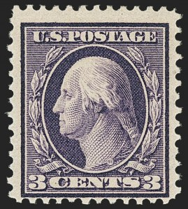 Sale Number 1150, Lot Number 1009, 1909 Bluish Paper Issue (Scott 357-366)3c Deep Violet, Bluish (359), 3c Deep Violet, Bluish (359)