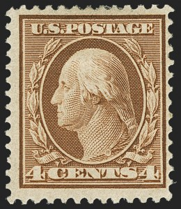 Sale Number 1150, Lot Number 1010, 1909 Bluish Paper Issue (Scott 357-366)4c Orange Brown, Bluish (360), 4c Orange Brown, Bluish (360)