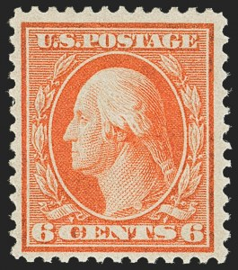 Sale Number 1150, Lot Number 1012, 1909 Bluish Paper Issue (Scott 357-366)6c Red Orange, Bluish (362), 6c Red Orange, Bluish (362)