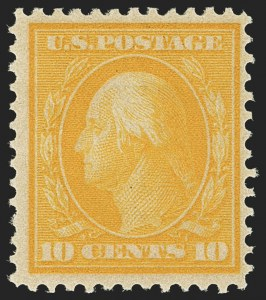 Sale Number 1150, Lot Number 1015, 1909 Bluish Paper Issue (Scott 357-366)10c Yellow, Bluish (364), 10c Yellow, Bluish (364)