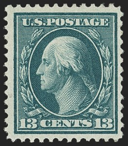 Sale Number 1150, Lot Number 1016, 1909 Bluish Paper Issue (Scott 357-366)13c Bluish Green, Bluish (365), 13c Bluish Green, Bluish (365)