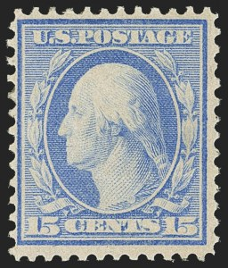 Sale Number 1150, Lot Number 1017, 1909 Bluish Paper Issue (Scott 357-366)15c Pale Ultramarine, Bluish (366), 15c Pale Ultramarine, Bluish (366)