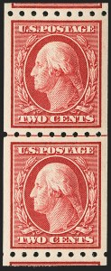 Sale Number 1150, Lot Number 1022, 1910-13 Washington-Franklin Issue (Scott 374-396)2c Carmine, Coil (391), 2c Carmine, Coil (391)