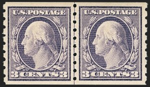 Sale Number 1150, Lot Number 1024, 1910-13 Washington-Franklin Issue (Scott 374-396)3c Deep Violet, Coil (394), 3c Deep Violet, Coil (394)
