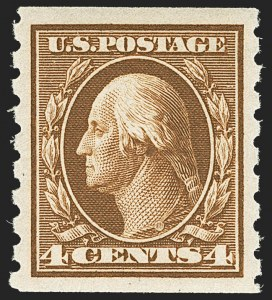 Sale Number 1150, Lot Number 1025, 1910-13 Washington-Franklin Issue (Scott 374-396)4c Brown, Coil (395), 4c Brown, Coil (395)