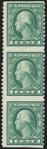 Sale Number 1150, Lot Number 1049, 1912-14 Washington-Franklin Issue (Scott 405-459)1c Green, Vertical Pair, Imperforate Horizontally (424c), 1c Green, Vertical Pair, Imperforate Horizontally (424c)