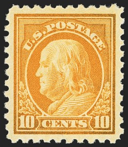 Sale Number 1150, Lot Number 1053, 1912-14 Washington-Franklin Issue (Scott 405-459)10c Orange Yellow (433), 10c Orange Yellow (433)