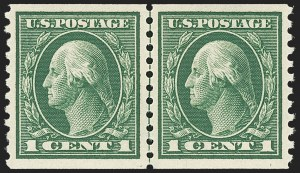 Sale Number 1150, Lot Number 1054, 1912-14 Washington-Franklin Issue (Scott 405-459)1c Green, Coil (443), 1c Green, Coil (443)