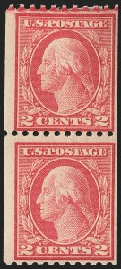 Sale Number 1150, Lot Number 1059, 1912-14 Washington-Franklin Issue (Scott 405-459)2c Red, Ty. I, Coil (449), 2c Red, Ty. I, Coil (449)
