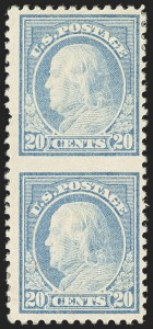 Sale Number 1150, Lot Number 1085, 1917-20 Issues (Scott 485-550)20c Light Ultramarine, Vertical Pair, Imperforate Between (515b), 20c Light Ultramarine, Vertical Pair, Imperforate Between (515b)
