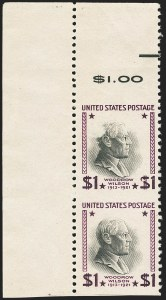 Sale Number 1150, Lot Number 1108, 1922 and Later Issues$1.00 Presidential, 1938 Printing, Vertical Pair, Imperforate Horizontally (832a), $1.00 Presidential, 1938 Printing, Vertical Pair, Imperforate Horizontally (832a)